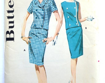 Sewing Pattern Butterick 2659, Vintage 1960's Women's Two Piece Dress Retro Style