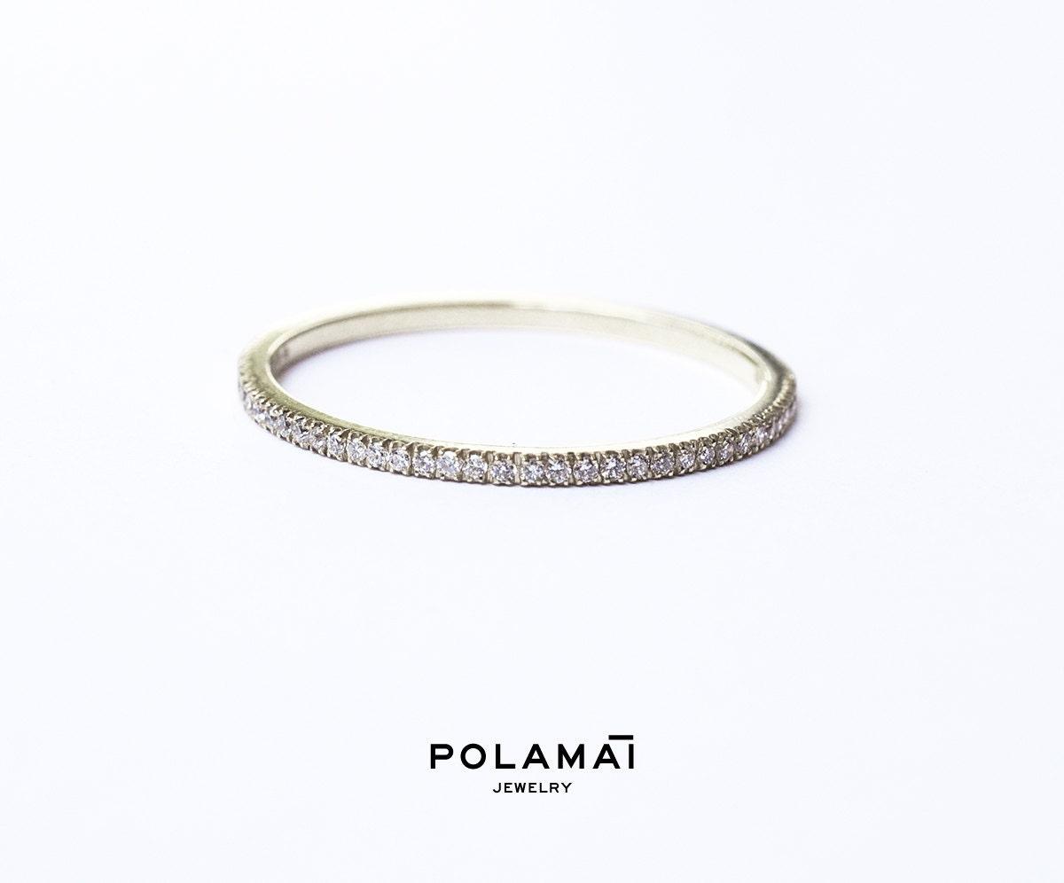 micro pave ring micro pave wedding band White Gold Diamond Eternity Ring 1 2mm 18k Micro Pave Eternity Ring Full or Half Wedding Band Thin Diamond Ring Diamond Stacking