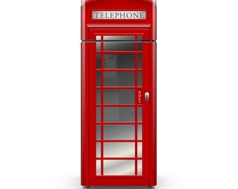 Fridge Vinyl Decal - London UK Red Phone Booth - Self Adhesive Vinyl Decal