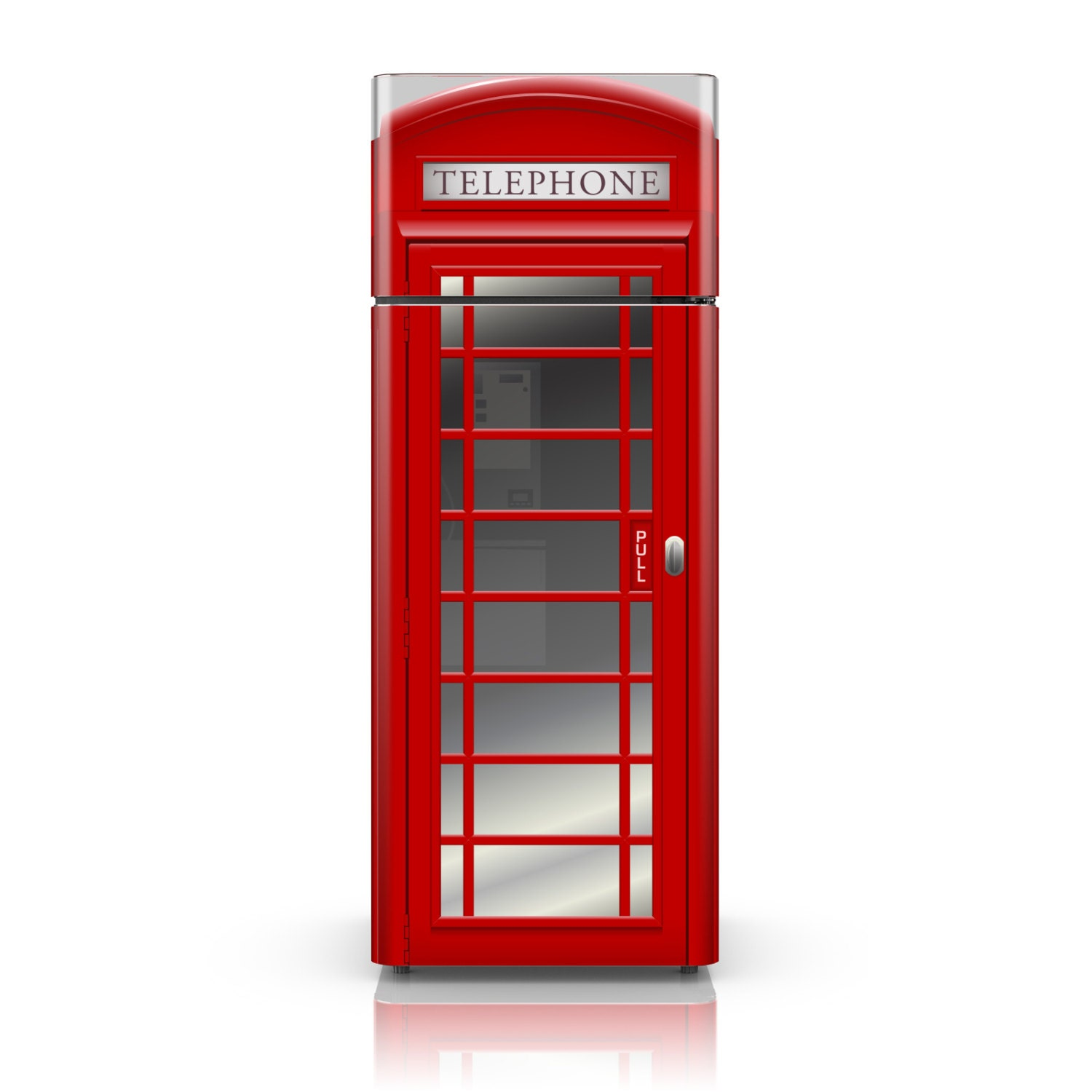 Fridge Vinyl Decal London UK Red Phone Booth Self Adhesive - Custom vinyl decals uk