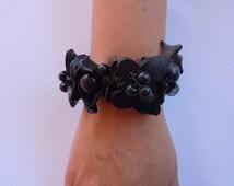 Bracelet, Butterfly Cocunut Bracelet, Brazalete de Coco, Pulsera de Coco, Boho Bracelet, Black Bracelet, Bracelet noix de coco