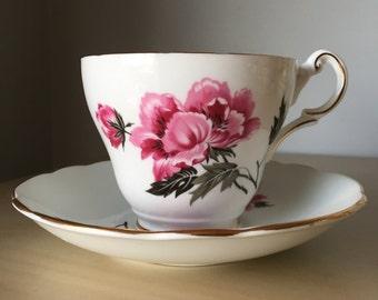 Regency Pink Peony Flower and Black Leaves Vintage Teacup and Saucer, Pink Floral Tea Cup and Saucer