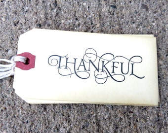 Thankful, Thankful Tag, Gift Tag, Tags and Labels, Thanksgiving Tags, Set of 5 Tags