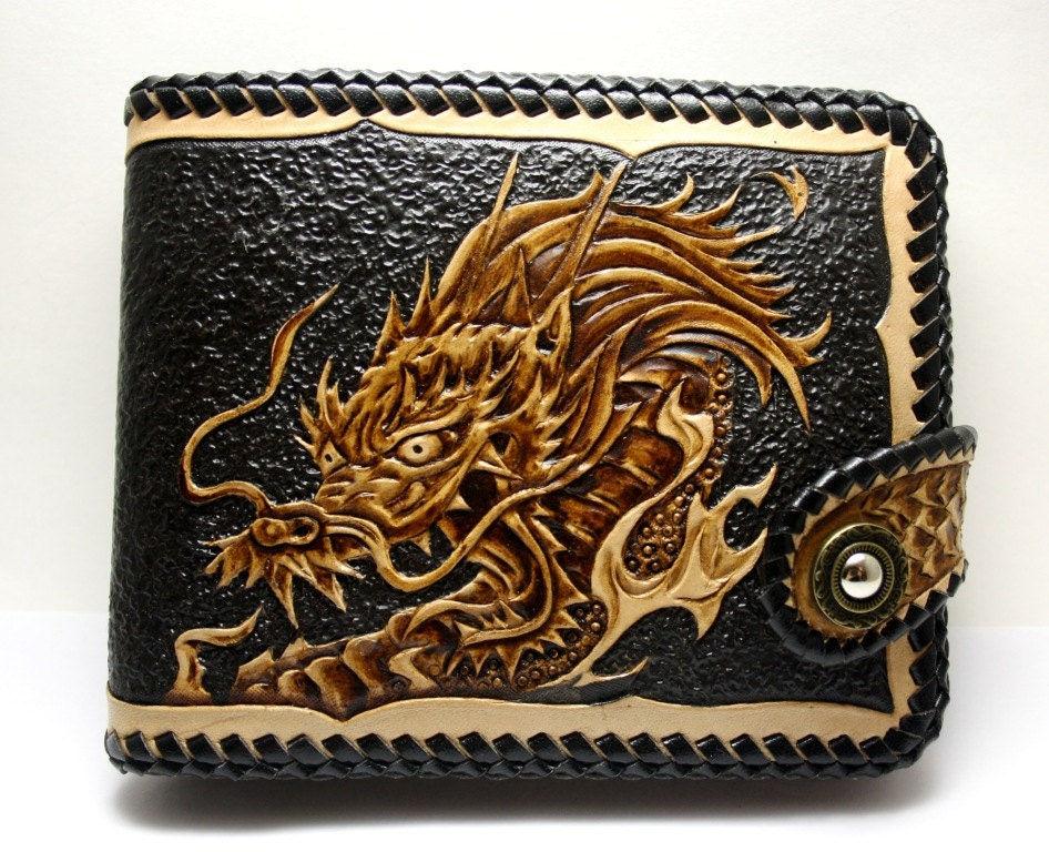 Handmade men s genuine leather wallet with hand carved