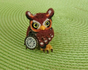 OOAK. Needle felted owl. Felted owl. Felt owl. Cute owl. Bird sculpture. Little owl with watch. What time is it owl.