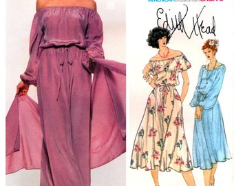 70s Vogue American Designer Original 1895 Edith Head Boho Maxi Dress in Two Lengths with Stole, Uncut, Factory Folded, Sewing Pattern Size 8