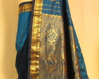 Royal blue and gold sari--silk and metallic brocade