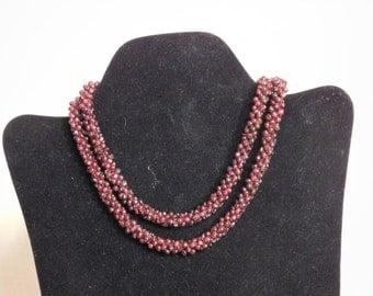 Pyrope garnet rope necklace