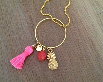 Pink pineapple necklace