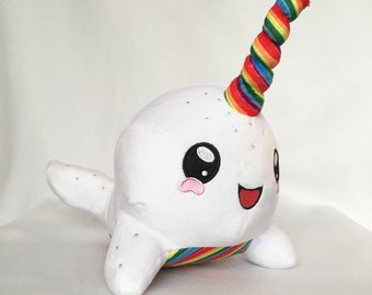 Unicorn Pop Narwhal Plush Toy, Narwhal Plush, Rainbow Narwhal, Whale Plush Toy