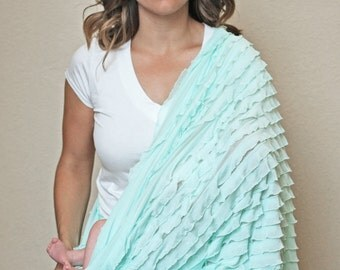 Infinity Scarf Nursing Cover, Ruffle Scarf, Lightweight Scarf, Breathable Nursing Cover, Mint, Brookes Treehouse