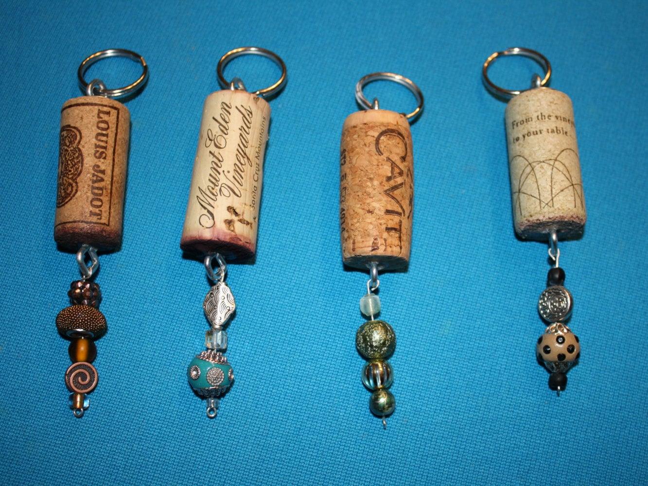 wine cork key chain beaded by pejotacrafts on etsy. Black Bedroom Furniture Sets. Home Design Ideas