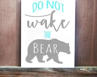 Do Not Wake The Bear Custom Hand Painted Canvas, Rustic Room, Outdoor Theme, Bear Design, Nursery Decor, Kids Room, Hunting Room, Wall Art