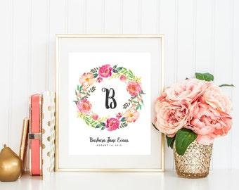 Custom Name Print, Monogram Printable, Letter Prints, Initial Print, Girls Nursery Print, Custom Wall Art, Peony Prints, Floral Wreath
