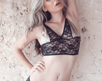 Sheer Lace and Satin Lingerie Set | EVELINE Longline Bra with Panties | Handmade to Order by Martha Lace