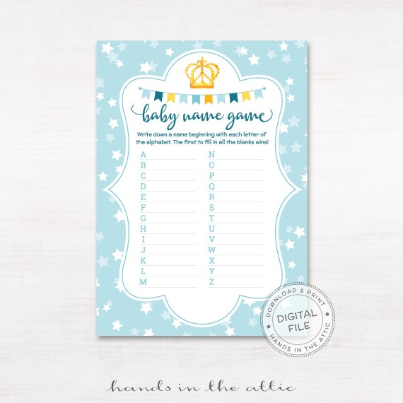 Relatively Baby name game race, baby shower game, printable baby shower game  AW86