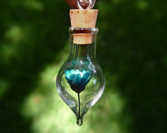 Turquoise Flower Terrarium Necklace - Real Dried Flower in a Glass Bottle Pendant - Jewelry