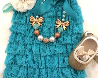 Teal Petti Lace Romper, Baby Romper, Girls Romper, Lace Romper, Petti Romper - Girls Romper, Teal Romper, Romper With Bow, Christmas