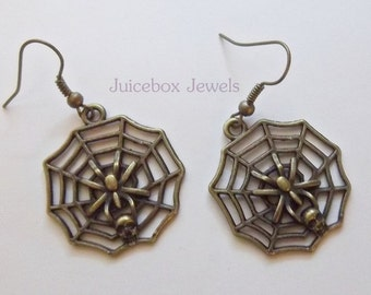 Spider Web with Skull capture, Bronze Plated metal ,1 inch Dangle Earrings, Pierced Only ,Fish Hook Ear wires #Y108