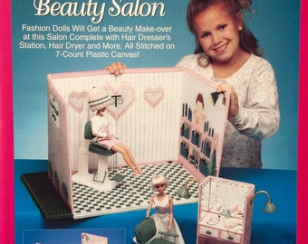 Barbie Fashion Doll Carry and Play - Beauty Hair Salon Plastic Canvas Pattern - The Needlecraft Shop #933740