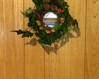 Wood Chip Butterfly English Ivy Mirror