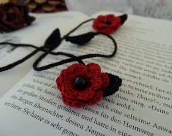 Handmade Crochet Flower Bookmarks - Red & Black
