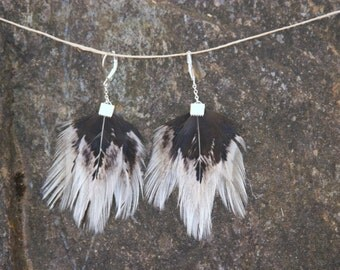 "Black & White Natural Bohemian Feather Earrings / 3"" hanging"