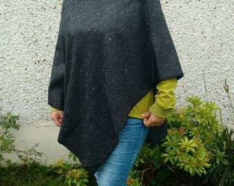 3in1 - Irish tweed cape, poncho & shawl - 100% wool - charcoal melange - ready for shipping - HANDMADE IN IRELAND