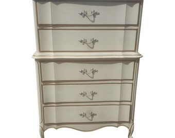Vintage French Provincial Dresser - Vintage Ivory / Gold Bedroom Dresser - Can be custom painted!