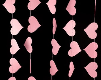Light Pink Heart Garland - Valentine's Day Garland, Pink Paper Garland with Heart Shapes, Girls Birthday or Engagement Garland - GH049Bpk