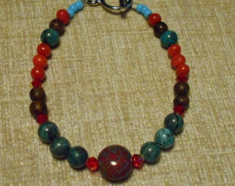 Blue and Red Bracelet