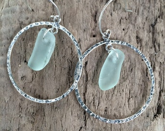 Aqua Sea Beach Glass Sterling Silver Hammered Hoop Earrings