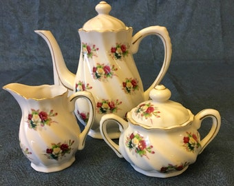 Vintage Tea Set with Roses and Gold Trim, Teapot, Sugar Bowl and Creamer