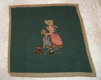 Vintage Needlepoint Small Seat Cushion, Pillow or Other Project - Girl and Dog