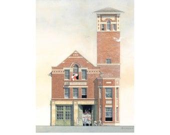 Fire House Art, Hall 22, Main St. Toronto // Fire Hall, Fire Station, Toronto Art, Fire Department, Firefighter gift, Toronto architecture.