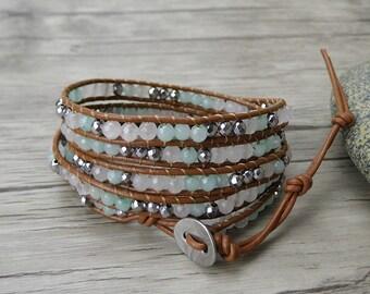 Summer boho bead bracelet Aqua bead wrap bracelet Jade gemstone bracelet Gypsy leather bracelet leather wrap bracelet bead jewelry SL-0306