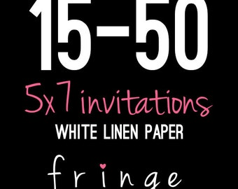 5x7 Invitations Print Package-White Linen Paper