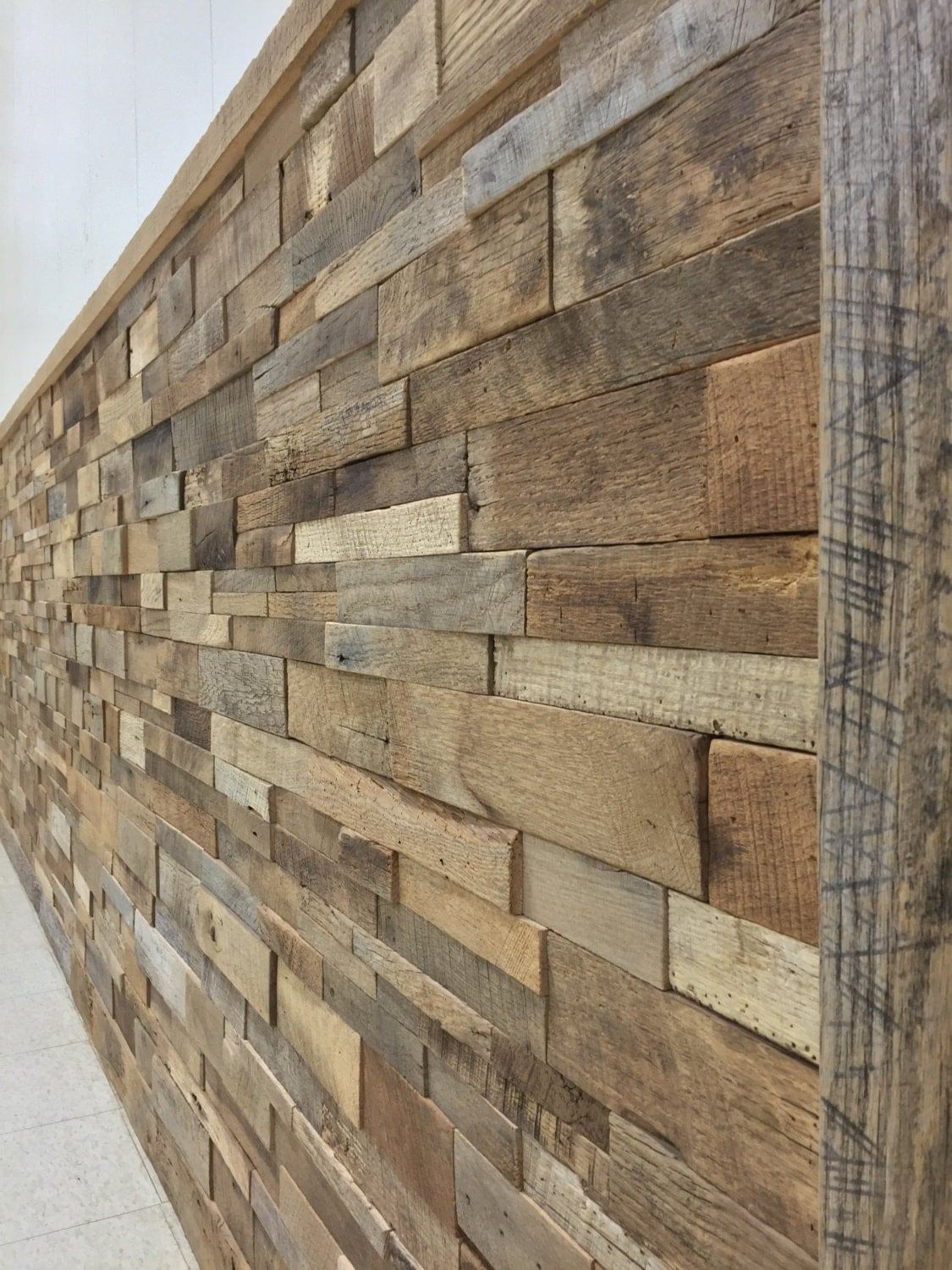 Reclaimed barn wood stacked wall panels diy by How to disguise wood paneling