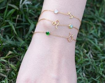 Horoscope Birthstone Bracelet / Sterling Silver Astronomy Bracelet / Gold Plated Zodiac Bracelet / Birthstone Bracelet / Astrology Bracelet