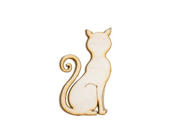 Sitting Cat, Craft Cat, Wood Crafts,Halloween Decor, Laser Cut - 1qty - 2.75 x 4.5 Inch (6.99 x 11.43cm) DIY Crafts, Kids Crafts, Wood Decor
