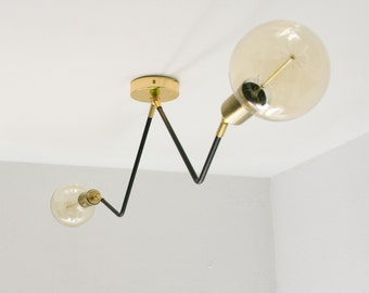 Modern Semi Flush Chandelier 2 Bulb Mid Century Edison Industrial Hanging Light Lighting
