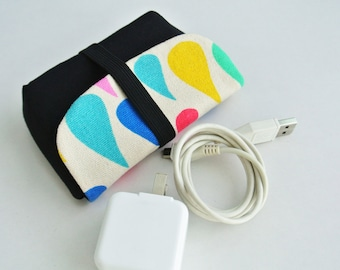 Colorful Raindrop Charger & Cable Storage, Cellphone Charger Holder, USB Cable Case, Traveller Gadget Organizer, Cable Holder -Made to Order