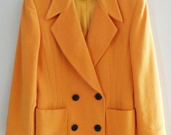 Vintage ESCADA Margaretha Ley Yellow Wool Womens Jacket Blazer Coat, ORP 1000, M