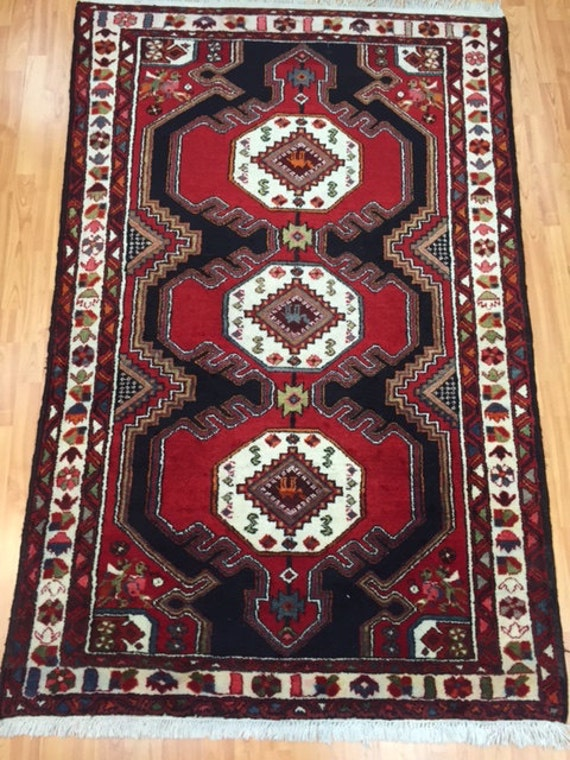 5' x 7' Persian Hamadan Oriental Rug - 1980s - Hand Made - 100% Wool Pile