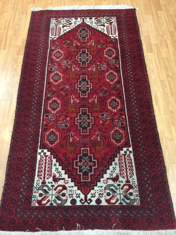 "3'4"" x 6'5"" Persian Shiraz Oriental Rug - Hand Made - 100% Wool - Full Pile - Vintage - 1980s"