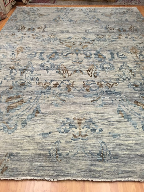 "9' x 12'2"" Soft Melody Indian Oriental Rug - Modern - Hand Made - 100% Wool"