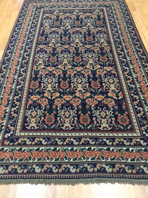 "4' x 6'6"" Romanian Agra Oriental Rug - Hand Made - 100% Wool - Floral Design"