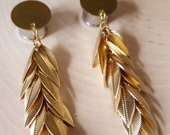 Gold Feather Dangle Plug Gauges  0g, 00g, 7/16, 1/2, 9/16, 5/8, 3/4