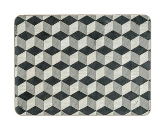 2 Black Place Mats Serving mats Modern Serving mat Geometric Table centre mats placemat Retro tablemats  Geometric placemats Art Deco Mat