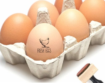 FRESH EGGS Stamp - Chicken Egg Stamp Small - Farm Egg Label Stamp - Custom Eggs - Chicken Coop Stamp -Egg Carton Label Rubber Stamp